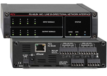 RDL RU-MLB4 DANTE INTERFACE Bi-directional, 4x Mic/line in and out, terminal blocks