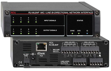 RDL RU-MLB4P DANTE INTERFACE Bi-directional, 4x Mic/line in and out, terminal blocks, POE
