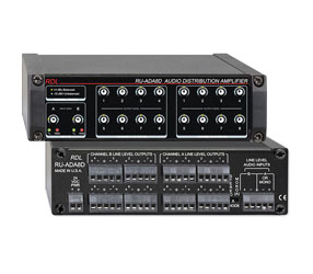 RDL RU-ADA8D DISTRIBUTION AMPLIFIER Line level audio, 2x8 stereo or 1x16 mono, terminal block I/O
