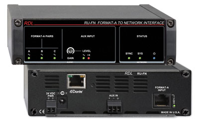 RDL RU-FN DANTE INTERFACE Input, 1x Format-A RJ45 in, aux term block in