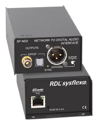 RDL SF-ND2 DANTE INTERFACE Output, 1x AES/SPDIF/optical out, XLR/RCA (phono)/Tos-link outputs