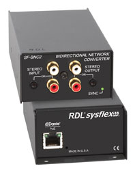 RDL SF-BNC2 DANTE INTERFACE Bi-directional, unbalanced, 2x2, RCA (phono)/3.5mm jack I/O