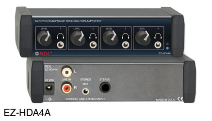 RDL EZ-HDA4A HEADPHONE DISTRIBUTION AMPLIFIER Stereo, 4x front-panel mini jack outputs, AC adapter