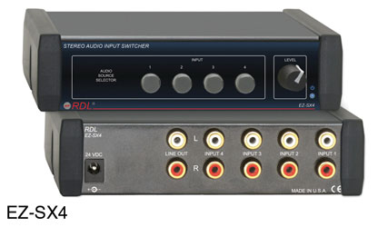 RDL EZ-SX4 INPUT SWITCHER Audio, stereo, 4x1, 10x RCA (phono) I/O, AC adapter