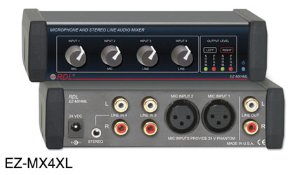 RDL EZ-MX4ML MIXER Audio, 4x1, 2x Mic XLR in, 2x Stereo RCA (phono) in, RCA (phono) out, AC adapter