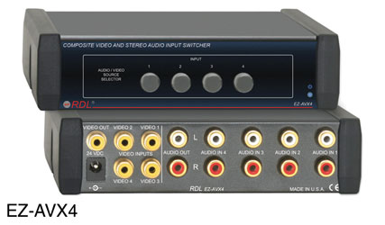 RDL EZ-AVX4 INPUT SWITCHER Audio and video, stereo, composite,  4x1, 15x RCA phono I/O, AC adapter