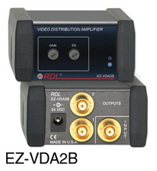 RDL EZ-VDA2B DISTRIBUTION AMPLIFIER Video, CVBS, NTSC/PAL, 1x2, BNC, AC adapter