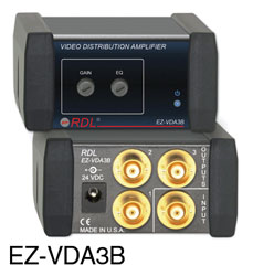 RDL EZ-VDA3B DISTRIBUTION AMPLIFIER Video, CVBS, NTSC/PAL, 1x3, BNC, AC adapter