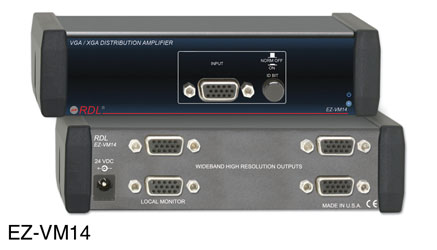 RDL EZ-VM14 DISTRIBUTION AMPLIFIER Video, VGA/XGA, 1x4, TTL / video, AC adapter