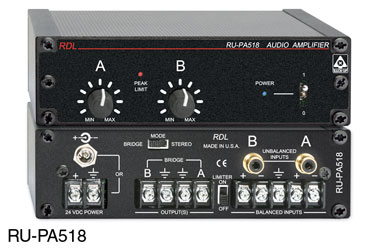 RDL RU-PA518 POWER AMPLIFIER Stereo, 9W/4 stereo, 18W/8 mono, terminal/RCA (phono) in, terminal out
