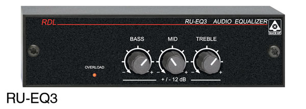 RDL RU-EQ3 AUDIO EQUALISER 3-band, rotary controls, terminal block I/O