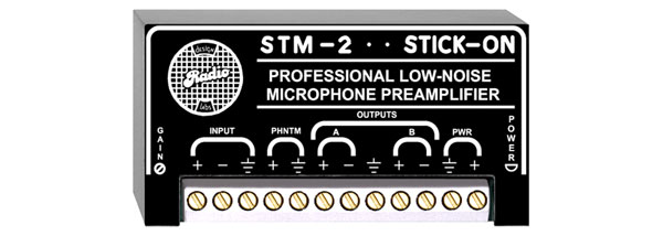 RDL STM-2 MICROPHONE PREAMPLIFIER High/low impedance input, 35 to 65dB gain
