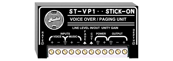 RDL ST-VP1 PAGING MODULE Voice-over, selectable fade-under/hard-cut