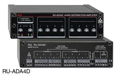 RDL RU-ADA4D DISTRIBUTION AMPLIFIER Line level audio, 1x4 stereo or 1x8 mono, terminal block I/O