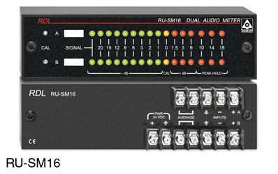 RDL RU-SM16A AUDIO METER Digital LED display, 2-channel, mono/stereo, terminal block I/O