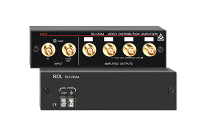 RDL RU-VDA4B DISTRIBUTION AMPLIFIER Video, NTSC/PAL, 1x4, input loop out, BNC I/O