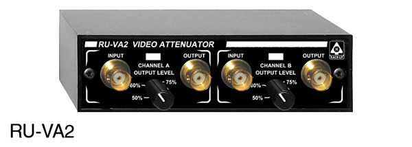 RDL RU-VA2 ATTENUATOR Video, dual-channel, rotary level controls, BNC I/O