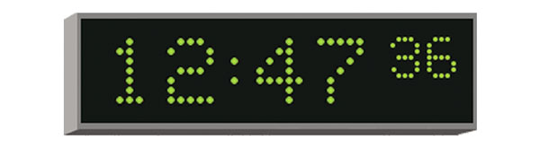 WHARTON 4010E.05.G.FP.UK CLOCK 50mm green characters, flush panel mount, mains powered