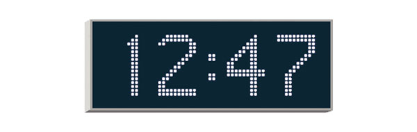 WHARTON 4200E.12.W.S.UK CLOCK 120mm white characters, surface mount, mains powered