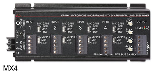 RDL FP-MX4 MIXER Audio, 4x balanced mic/line inputs, 24V phantom, terminal block I/O