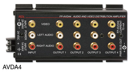 RDL FP-AVDA4 DISTRIBUTION AMPLIFIER Audio and video, stereo, 1x4, RCA (phono) I/O