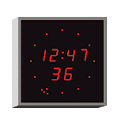 WHARTON 4900E.02.R.FP.UK CLOCK 20mm red characters, flush panel mount, mains powered