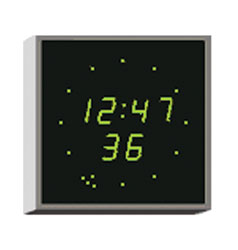 WHARTON 4900E.02.G.S.UK CLOCK 20mm green characters, surface mount, mains powered