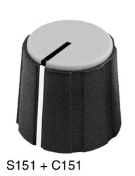 SIFAM S151-006 COLLET KNOB 15.5mm diameter, 6mm shaft, black