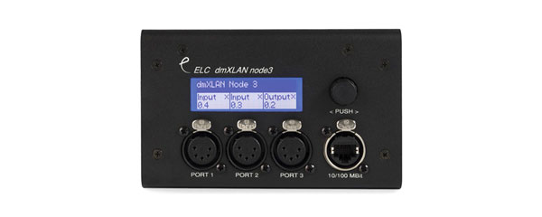 ELC LIGHTING DMXLAN NODE3 SM FI DMX NODE 3x DMX ports, 2x Ethernet ports, 5-pin XLR, surface mount