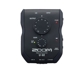 ZOOM U-22 USB AUDIO INTERFACE 2x2, mic/line in, +48V phantom, battery/bus powered