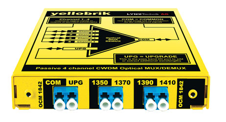 LYNX YELLOBRIK OCM 1842 PASSIVE CWDM OPTICAL MUX / DEMUX, 4 Channel - 1350, 1370, 1390, 1410nm