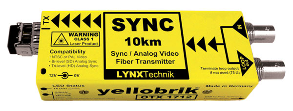 LYNX YELLOBRIK OTX 1712 SC FIBRE OPTIC TRANSMITTER Analogue sync and video, Singlemode 1310nm SC