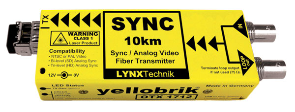 LYNX YELLOBRIK OTX 1712 FIBRE TRANSMITTER Analogue sync and video, 1x SM ST, 1310nm, 10km