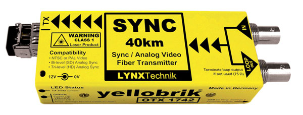 LYNX YELLOBRIK OTX 1742 FIBRE OPTIC TRANSMITTER Analogue sync and video, CWDM (without SFP)