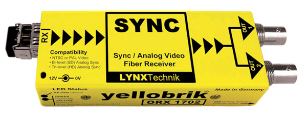 LYNX YELLOBRIK ORX 1702 ST FIBRE OPTIC RECEIVER Analogue sync and video, Singlemode ST