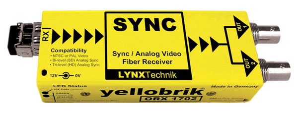 LYNX YELLOBRIK ORX 1702 MM FIBRE OPTIC RECEIVER Analogue sync and video, Multimode LC