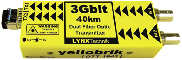 LYNX YELLOBRIK OTT 1842 DUAL FIBRE OPTIC TRANSMITTER, 3G-SDI, CWDM (without SFP)