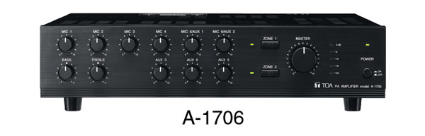 TOA A-1724 MIXER AMPLIFIER 240W/4, 100V. AC power, 2 zone, rackmountable with MB-25B