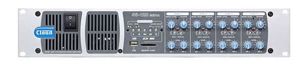 CLOUD 46-120 MEDIA ZONE AMPLIFIER 4x 120W/4, 85W/8, fan cooled, rackmount, 2U, USB/SD player