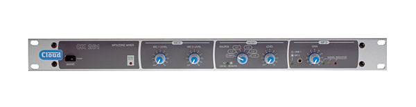 CLOUD CX261 SINGLE ZONE MIXER 2x mic, 6x stereo, 1x 3.5mm MP3 in, bal L/R output, mono aux out, 1U