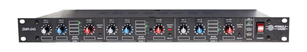 FORMULA SOUND ZMR-243 MIXER Three zone, 2x microphone, 4x stereo in, 3x stereo out, 1U rackmount