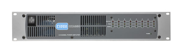 CLOUD CXA850 POWER AMPLIFIER 8x 50W/4, balanced in, 2-part terminals in/out, rackmount 2U