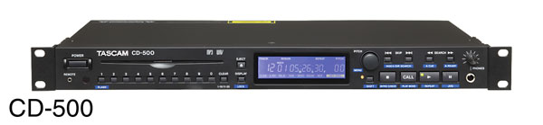 TASCAM CD-500 CD PLAYER RCA, SP/DIF, RS232, 1U rackmount