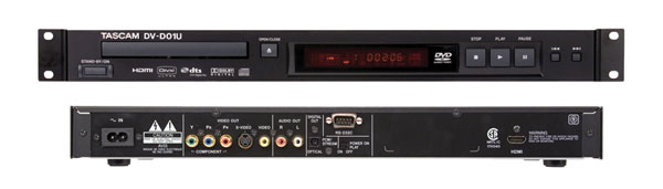 tascam dv d01u dvd player audio and video hdmi analogue optical audio rs232 1u rackmount. Black Bedroom Furniture Sets. Home Design Ideas
