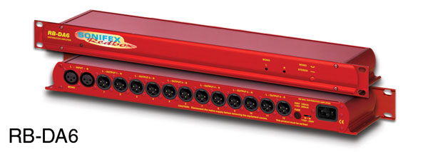 SONIFEX RB-DA6 DISTRIBUTION AMPLIFIER Audio, 2x6, 14x XLR, 1U rackmount