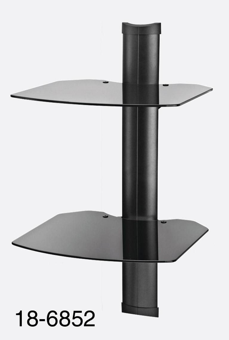 OMNIMOUNT TRIA 2 WALL SHELF SYSTEM 2x black glass shelves 13kg max ...