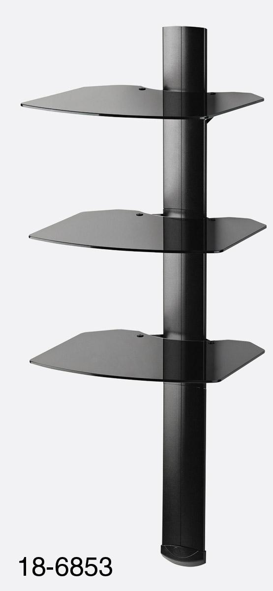 acheter pas cher a4d53 ac94e OMNIMOUNT TRIA WALL SHELF SYSTEM 3x black glass shelves ...