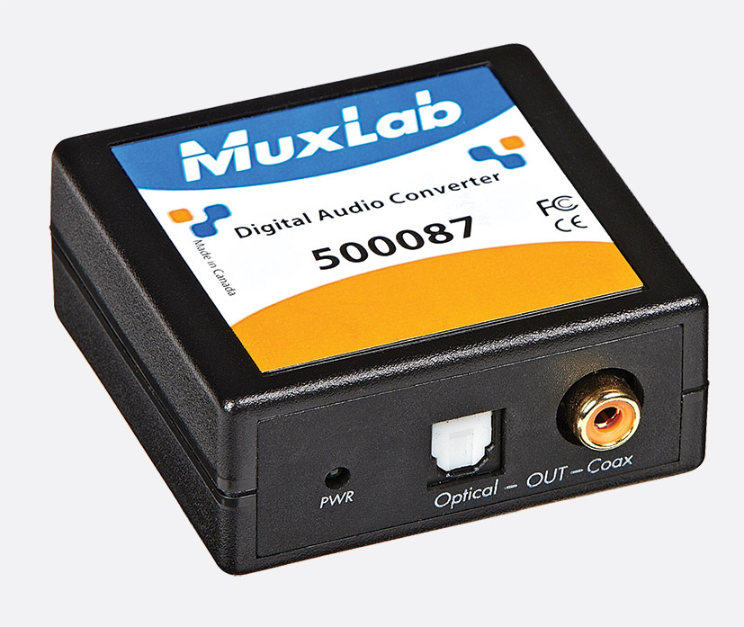 MUXLAB 500087 DIGITAL AUDIO CONVERTER S/PDif RCA, Toslink in, S/PDif RCA  and Toslink digital out