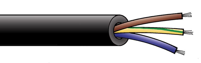 Flexible Mains 3 Core 6 Sq Mm Black Rubber