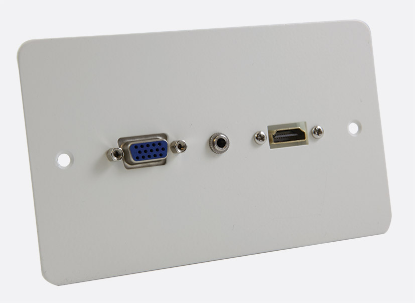 Connector Plate Uk 2 Gang Av Connections Hdmi Vga And